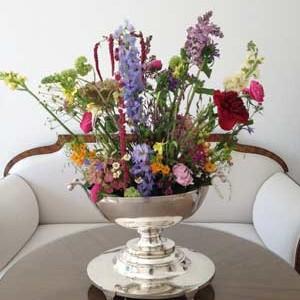 silberne-Blumenschale